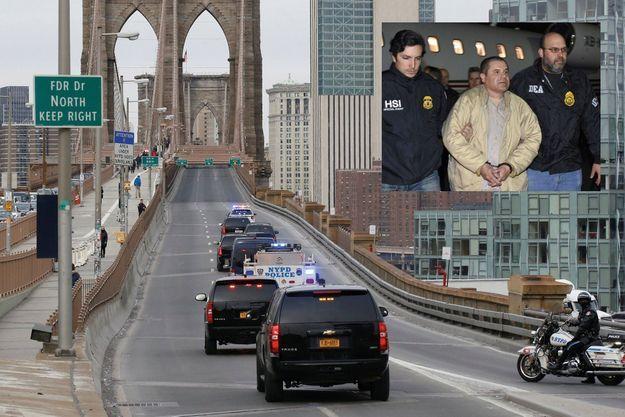 Sur la route du tribunal fédéral de Brooklyn, à New York. Pendant le procès, deux fois par semaine, le pont de Brooklyn est fermé à la circulation pour le convoi du détenu En médaillon: L'arrivée du criminel aux Etats-Unis, le 19 janvier 2017, à l'aéroport MacArthur de Long Island, à Ronkonkoma, dans l'Etat de New York.