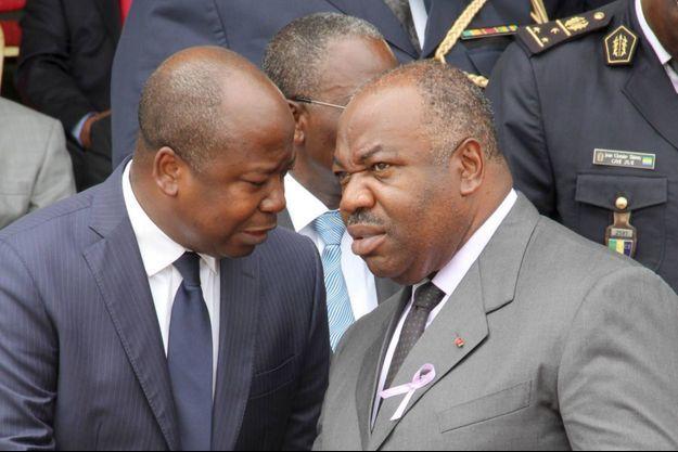 Alain Claude Billie Bi Nze (à gauche), porte parole du président Ali Bongo (à droite). L'élection présidentielle du Gabon se déroule le dimanche 27 août 2016