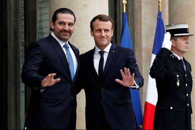 Le Premier ministre libanais démissionnaire Saad Hariri et Emmanuel Macron à l'Elysée samedi.