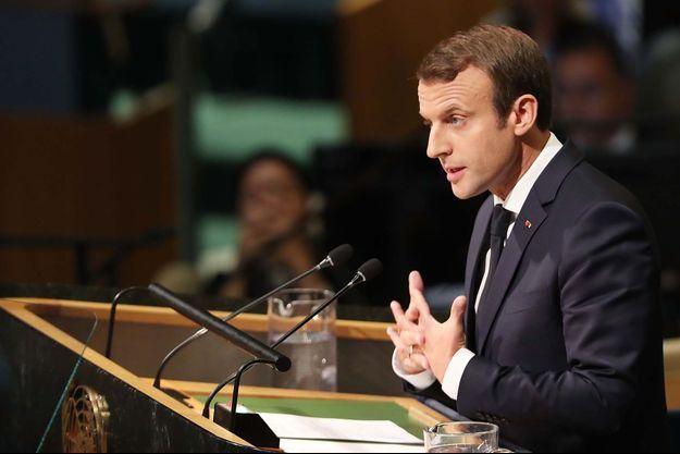 Le président de la République française Emmanuel Macron à la tribune des Nations unies.
