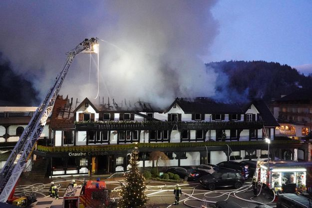 Le restaurant trois étoiles Schwarzwaldstube en feu, le 5 janvier 2020.