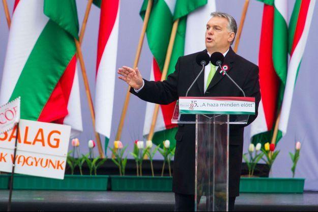 Viktor Orban lors d'un discours pour la fête nationale hongroise, le 15 mars.
