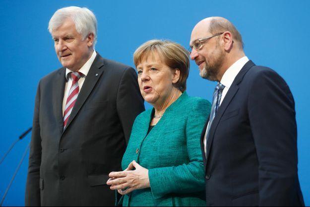 Horst Seehofer, Angela Merkel et Martin Schulz, le 7 février 2018.