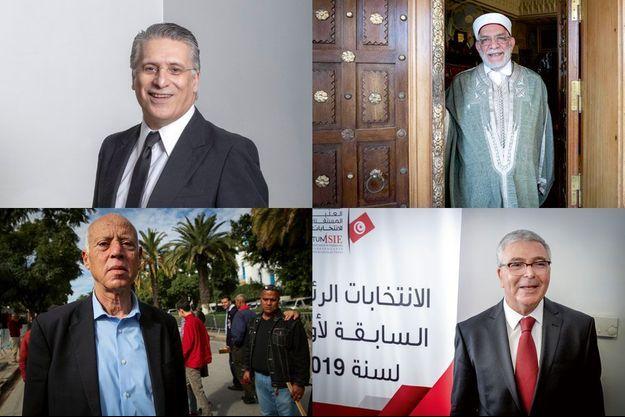 Les candidats les plus souvent cités sont Nabil Karoui, Kaïs Saïed, Abdelfattah Mourou et Abdelkrim Zbidi (de haut en bas et de g. à dr.)