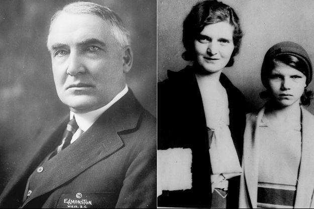 A gauche, Warren G. Harding. A droite, Nan Britton et leur fille Elizabeth, photographiées en 1931.