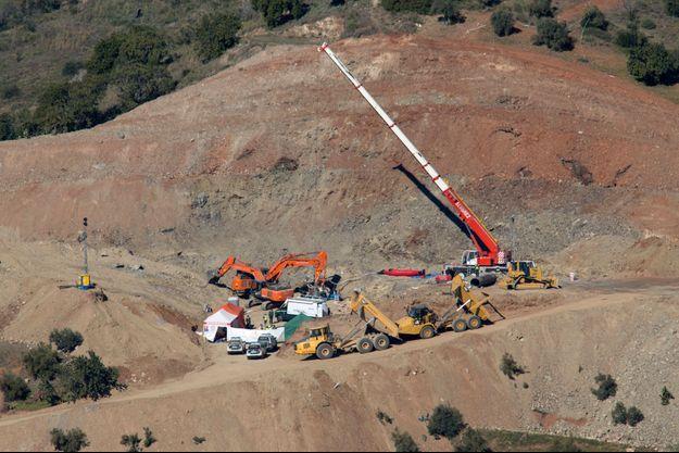Vue aérienne du puits de Totalan où est tombé le petit Julen.