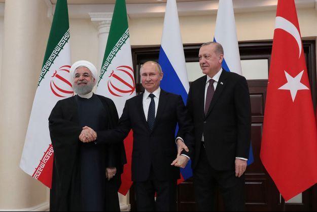 Quatrième sommet trilatéral entre Hassan Rohani, Vladimir Poutine et Recep Tayyip Erdogan, à Sotchi, le 14 février
