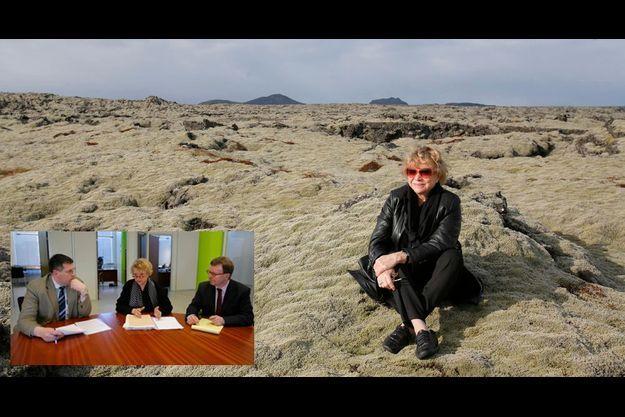 Eva Joly, ici sur la terre volcanique d'Islande. En médaillon, réunion de travail d'Eva Joly avec le procureur special Olafur Hauksson et l expert judiciaire francais Jean-Michel Matt à Reykjavik en Islande.