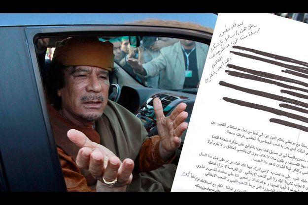 Le colonel Kadhafi en avril dernier et le fac-simile de sa lettre à Silvio Berlusconi.