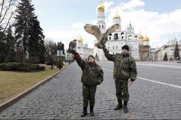 Ioulia au faucon, Diniz au hibou grand-duc veillent sur le clocher d'Ivan le Grand.