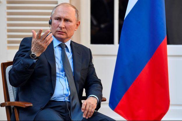 Vladimir Poutine au fort de Brégançon lundi.