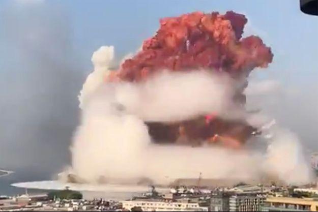 Image extraite d'une vidéo de la première explosion à Beyrouth.