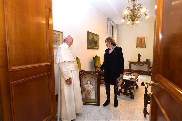 pope Francis and our reporter Caroline Pigozzi