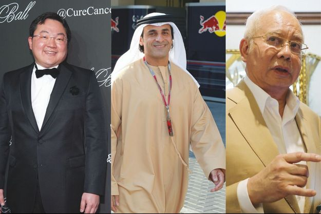 Les principaux instigateurs du casse : Jho Low, Al-qubaisi, et Najib Razak.
