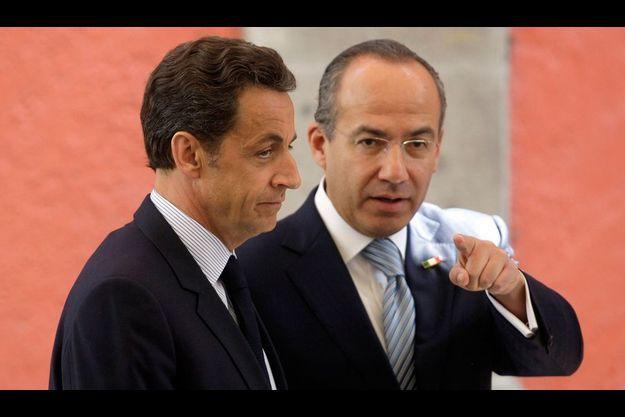 Nicolas Sarkozy et le président Felipe Calderon le 9 mars au palais national de Mexico.
