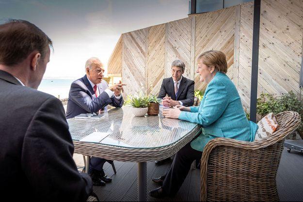 Joe Biden et Angela Merkel le 12 juin 2021.