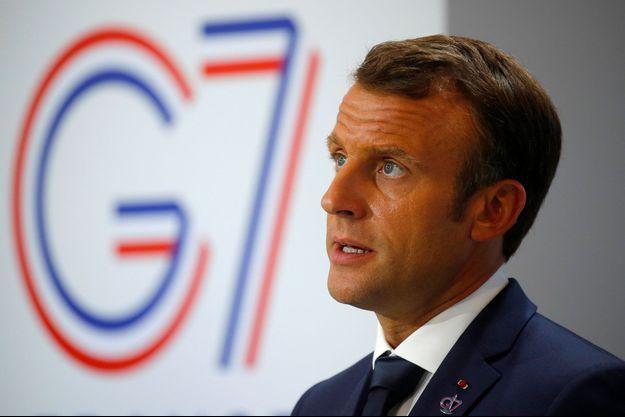 Emmanuel Macron à Biarritz lundi après-midi.