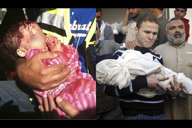 A gauche, un bébé israélien blessé par un tir de roquette du Hamas. A droite, un bébé palestinien victime d'un shrapnel lancé par l'armée israélienne.