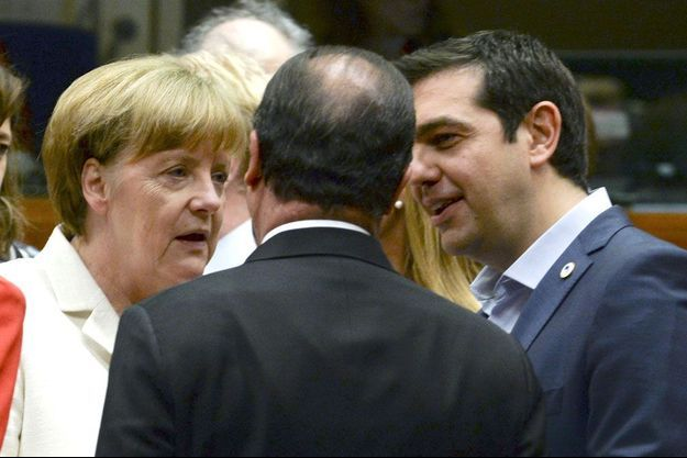 Angela Merkel, Francois Hollande et Alexis Tsipras dimanche à Bruxelles.