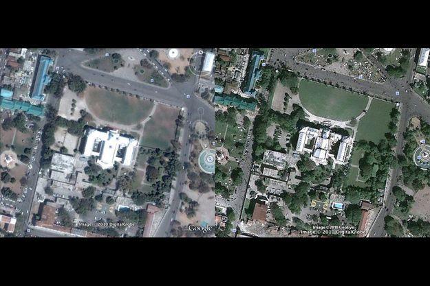 Le palais présidentiel avant et après le tremblement de terre (à dr.) sur Google Earth.