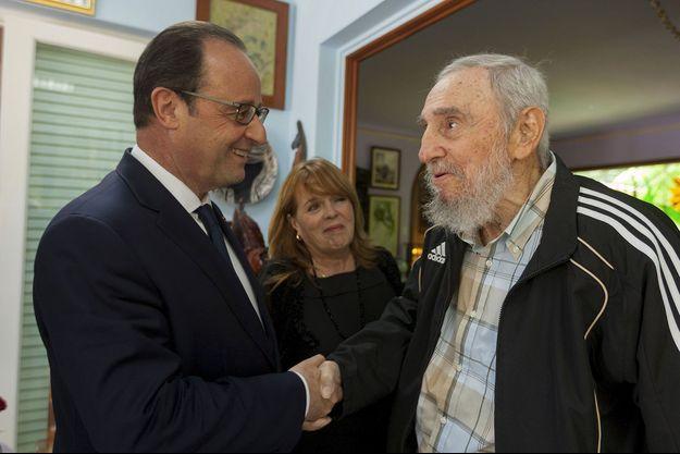 Francois Hollande et Fidel Castro à La Havane en mai 2015.