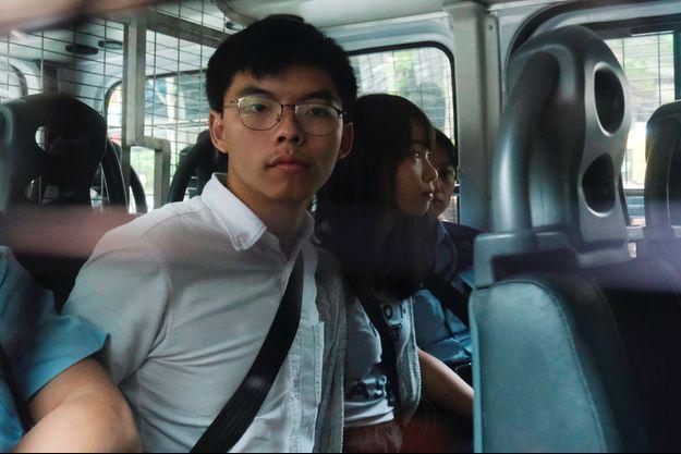 Joshua Wong lors de son arrestation le 30 août 2019.