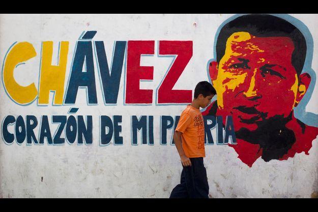 L'image d'Hugo Chavez, toujours très présente à Caracas.