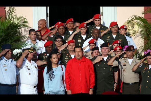 Hugo Chavez, avec sa fille Rosa, avant son départ pour Cuba.