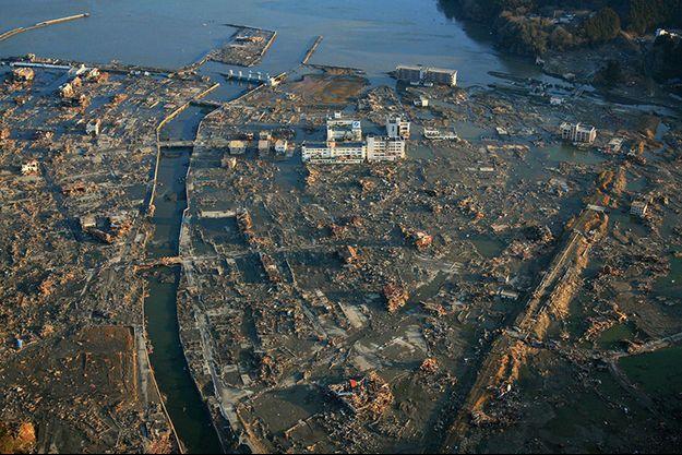 Minamisanriku, ville côtière de 17 000 habitants, au lendemain de la catastrophe, le 12 mars 2011.