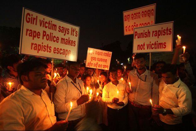 Manifestation contre les viols répétés sur mineur le 23 octobre 2017 à Bhubaneswar en Inde