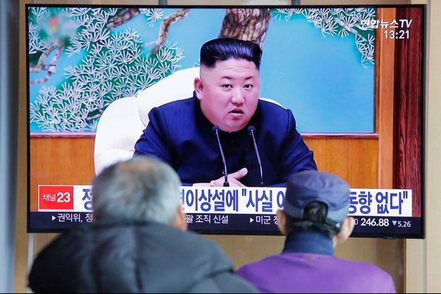 Diffusion d'un programme montrant Kim Jong Un à Séoul, en Corée du Sud, le 21 avril 2020.