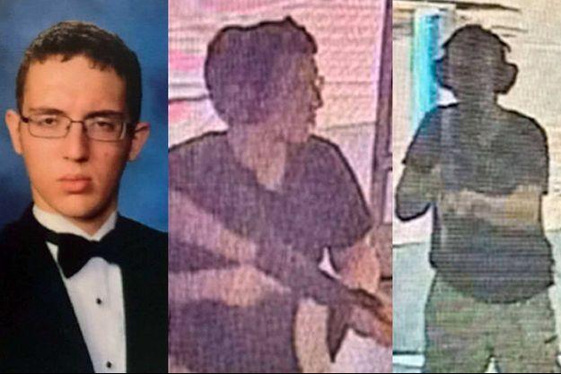 A gauche, Patrick Crusius sur une photo prisée au lycée. Au centre et à droite, les images de vidéosurveillance prises peu avant la fusillade d'El Paso.