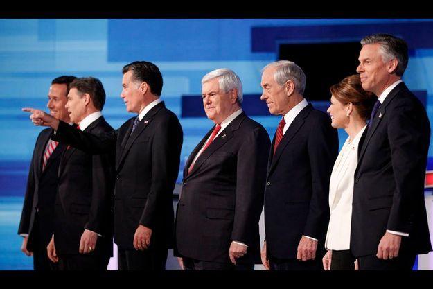 Rick Santorum, Rick Perry, Mitt Romney, Newt Gingrich, Ron Paul,Michele Bachmann et Jon Huntsman