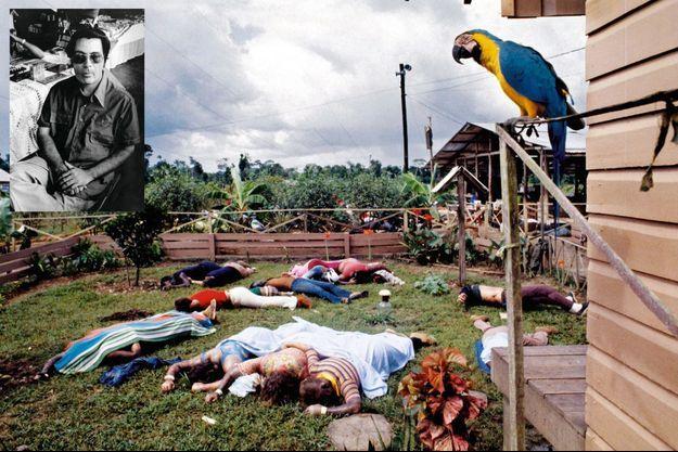 Le 18 novembre 1978, 918 membres de la secte meurent sur ordre de leur gourou. Une grande partie des corps sont retrouvés devant la maison commune. En médaillon : Jim Jones pendant une interview, le 18 novembre 1978. Portrait de Greg Robinson, photographe au « San Francisco Examiner », assassiné quelques heures plus tard