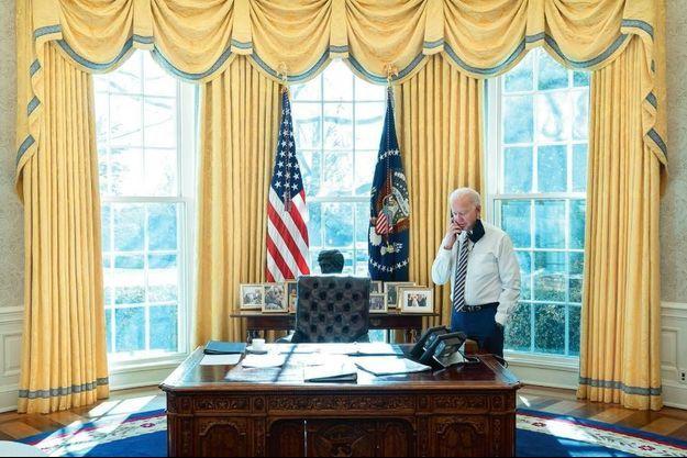 Au téléphone avec son homologue mexicain, le 22 janvier à la Maison-Blanche