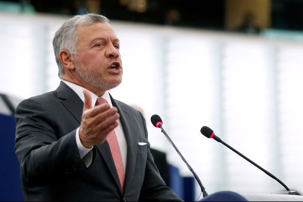 Abdallah II de Jordanie devant le parlement européen à Strasbourg en janvier 2021.