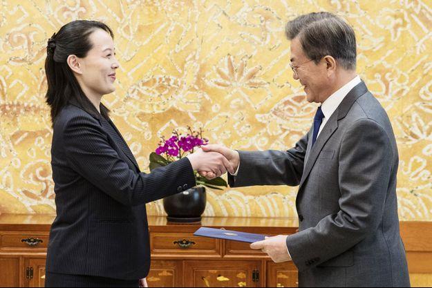 La sœur de Kim Jong-un et président sud-coréen à Seoul samedi.