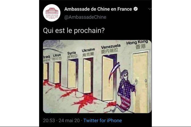 La caricature publiée par le compte de l'ambassade chinoise en France, dimanche.