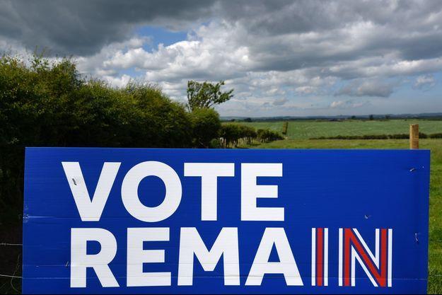 Une pancarte favorable au maintien du Royaume-Uni dans l'Union européenne non loin de la frontière entre l'Angleterre et l'Ecosse.