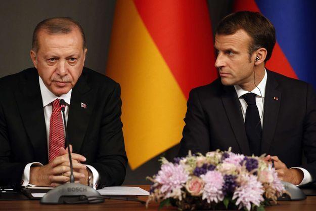 Recep Tayyip Erdogan et Emmanuel Macron en octobre 2018 à Istanbul.