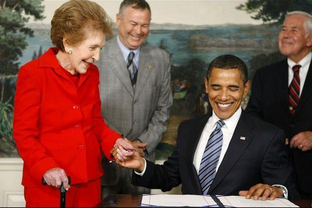 Nancy Reagan avec le président Barack Obama le 2 juin 2009.