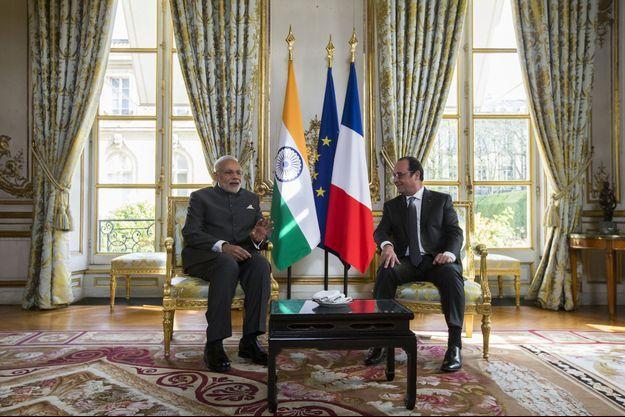 Narendra Modi avec François Hollande à l'Elysée, vendredi.