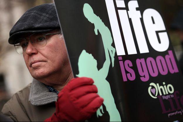 Brian Normile, un militant pro-vie de l'Ohio, lors d'une manifestation à Washington, en janvier 2014.