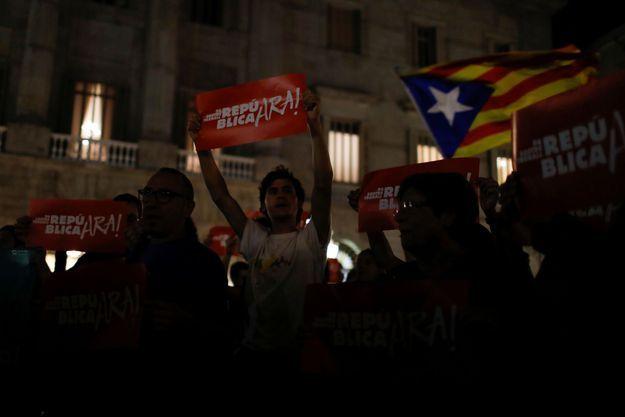 Des manifestants catalans à Barcelone.