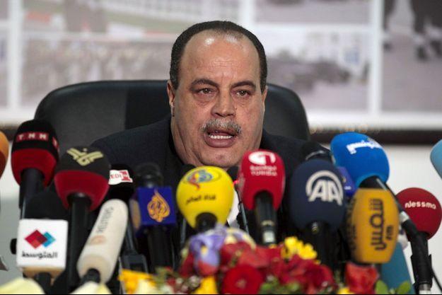 Le ministre de 'Intérieur tunisien, Najem Gharsalli, à la conférence de presse.