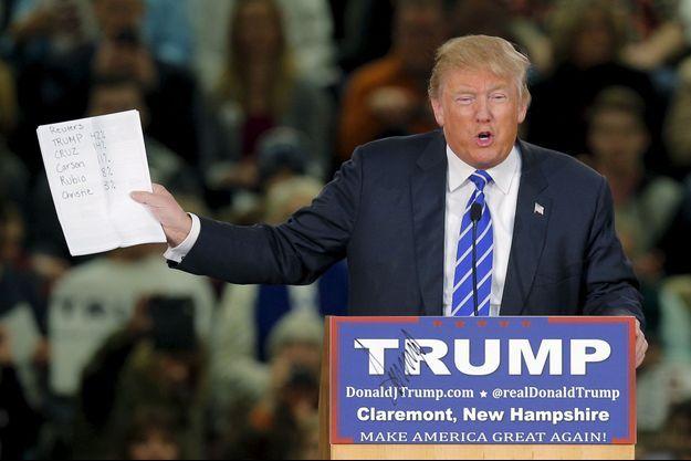 Donald Trump lors d'un meeting à Claremont, dans le New Hampshire, le 6 janvier.