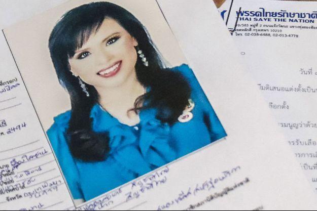 Document officiel montrant la candidature de la princesse Ubolratana au poste de Premier ministre.