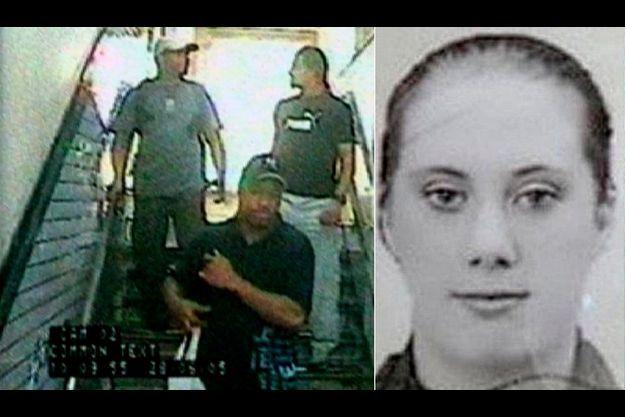 Samantha Lewthwaite à côté d'une image de vidéosurveillance des terroristes, prise lors des attentats de Londres.