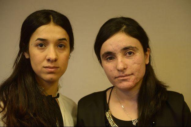 Nadia Murad et Lamiya Aji Bashar à Strasbourg, le 13 décembre 2016.
