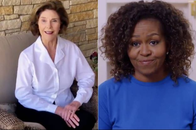 Laura Bush et Michelle Obama.